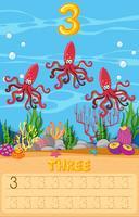 Feuille de travail sous l'eau de trois poulpes
