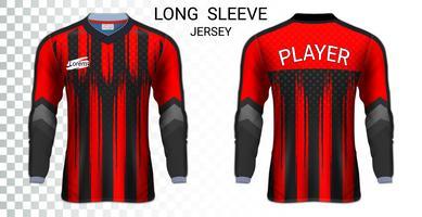 Modèle de maquette de t-shirts de maillots de football à manches longues, conception graphique pour les uniformes de football.