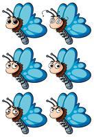 Papillon avec différentes émotions faciales vecteur