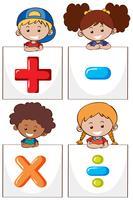 Quatre enfants avec différents signes mathématiques