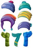 Différents modèles de chapeaux et écharpes d'hiver vecteur