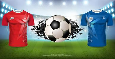 Modèle de tournoi de football pour épreuve sportive, maquette de maillot de football A vs équipe B.