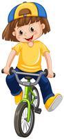 Un enfant à bicyclette sur fond blanc vecteur