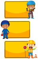 Modèle de bannière avec les travailleurs de la construction vecteur