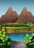 Vue sur la rivière avec forêt et montagne