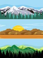 Un ensemble de paysage de montagne vecteur