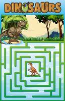 Modèle de puzzle avec thème de dinosaure vecteur