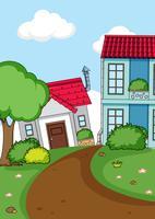 Fond de maison rurale simple vecteur