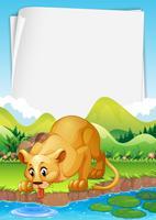 Bordure design avec lion près de l'étang vecteur