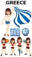 Drapeau de la Grèce et femme athlète vecteur