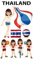 Drapeau de la Thaïlande et athlète féminine vecteur