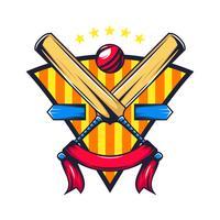 crête de cricket avec bannière vecteur