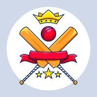 Championnat de cricket avec couronne, bannière et étoiles vecteur