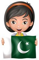Jolie fille avec le drapeau du Pakistan vecteur