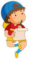 Garçon à faire ses devoirs seul
