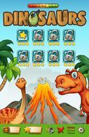 Modèle de jeu avec le thème des dinosaures vecteur