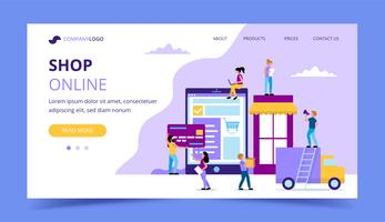 Boutique en ligne landing page - illustration de concept avec une tablette avec un site Web, une voiture de livraison, carte de crédit, caractères de petites personnes. vecteur