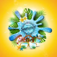 Vector Illustration de vacances d'été avec éclaboussure d'eau de piscine et feuilles tropicales sur fond jaune. Plantes exotiques, fleurs, lunettes de soleil et volant de bateau