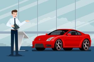 Homme d'affaires heureux, le vendeur est debout et présente sa voiture de luxe garée dans la salle d'exposition. Conception d'illustration vectorielle. vecteur