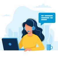 Service Clients. Femme avec casque et microphone avec ordinateur portable. Illustration de concept pour le soutien, centre d'appels. vecteur