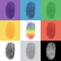 Ensemble d'empreintes digitales colorées