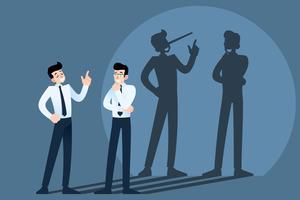 Heureux souriant mensonges, tricherie, personnage de canular causant devant le mur avec l'ombre de son long nez Menteur, mentir dans le concept d'entreprise.