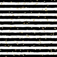 Abstrait noir et blanc rayé sur fond tendance avec motif de points de feuille d'or aléatoire. Vous pouvez utiliser pour des cartes de vœux ou du papier d'emballage, du textile, des emballages, etc. vecteur