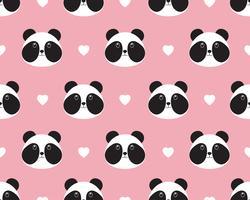 Modèle sans couture de visage de panda mignon avec coeur sur fond doux vecteur