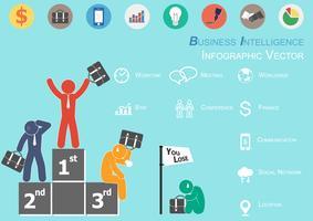 Infographie de la Business Intelligence (le gagnant est heureux et les perdants sont tristes) vecteur