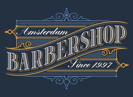 Vintage logo pour le salon de coiffure vecteur