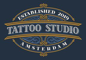 Lettrage vintage pour studio de tatouage vecteur