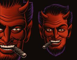 Illustration vectorielle couleur d'un visage de diable fumant un cigare