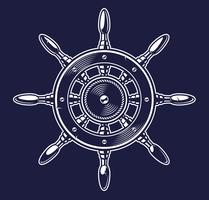 Illustration vectorielle de la roue d'un navire sur le fond sombre vecteur