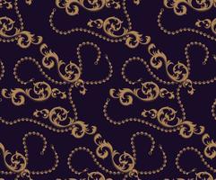 Modèle sans couture d'éléments baroques et de chaînes vecteur