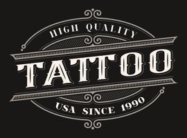 Logo vintage pour le studio de tatouage vecteur