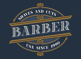 Création de logo vintage barbier vecteur