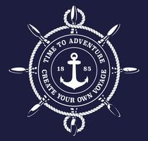 Illustration vectorielle de la corde de roue d'un navire sur fond sombre