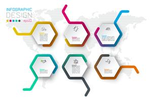 Les étiquettes de business hexagone forment infographie sur la barre de ligne. vecteur