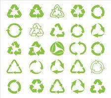Recycler le vecteur de l'icône. Recycler le recyclage définir illustration symbole - vecteur