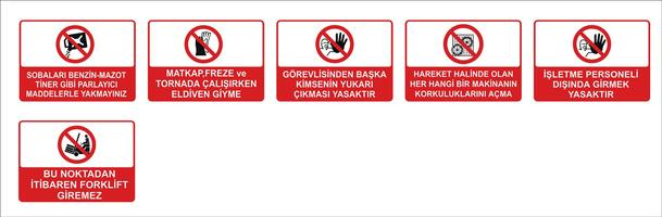 Modèles de signalisation turcs, panneau de signalisation de danger, panneau d'interdiction, panneaux de sécurité et de santé au travail, panneau d'avertissement, panneau d'urgence en cas d'incendie. pour autocollants, affiches et autres su
