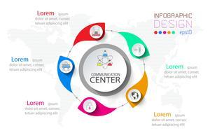 Infographie en 5 étapes des affaires en cercle et une grande au centre.