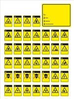 ensemble de panneaux obligatoires, de panneaux de danger, de panneaux interdits, de panneaux de sécurité et de santé au travail, de panneaux de mise en garde, de panneaux de secours en cas d'incendie. pour autocollants, affiches et autres supports d'impre vecteur