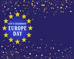 Jour de l'Europe. Jour férié annuel en mai. C'est le nom de deux journées de célébration annuelles - le 5 mai du Conseil de l'Europe et le 9 mai de l'Union européenne. Affiche, carte, bannière et fond. Vecteur - Vektör