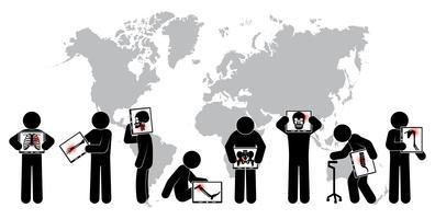 Stick man hold screen screen: montre le squelette, carte du monde (concept mondial de la santé) (tuberculose pulmonaire, arthrite, spondylose cervicale, spondylolisthésis lombaire, scoliose, accident vasculaire cérébral)