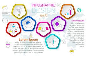 Les pentagones marquent l'infographie en 6 étapes.