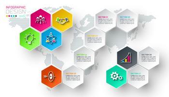 Étiquettes de filet d'affaires hexagone forme barre infographique.
