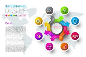 Les étiquettes colorées des entreprises forment la barre de cercles infographiques.