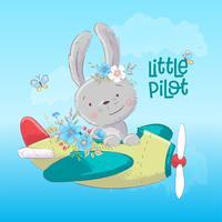 Poster carte postale lapin mignon dans l'avion et des fleurs dans un style bande dessinée. Dessin à main levée.