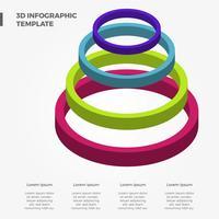 Modèle de vecteur d'infographie coloré 3D plat