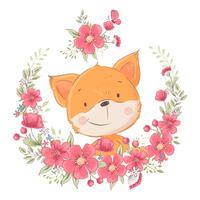 Poster carte postale mignon petit renard dans une gerbe de fleurs. Dessin à main levée. Vecteur